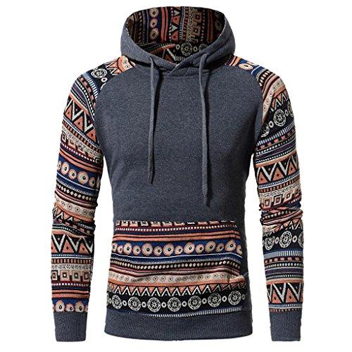 Shubuy 2018 Mens Shirt, Autumn Winter Men Retro Long Sleeve Hoodie Hooded Sweatshirt Tops Jacket Coat Outwear (XXL, Dark Gray) (School Top Hooded)