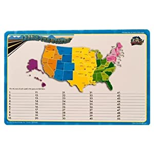 Amazoncom Dry Erase Lap Board United States Map Capitals - Us map dry erase