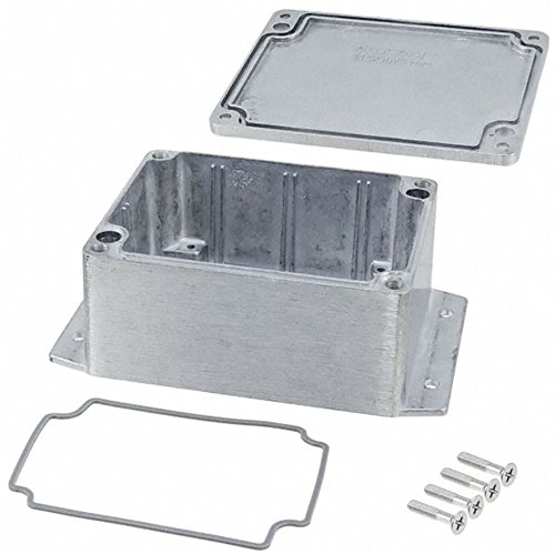 BUD Industries AN-2854-A IP68 Aluminum 4.53x3.54x2.17 Enclosure with Molded in Mounting Brackets, Natural