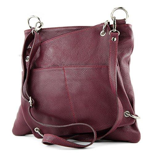 bandoulière cuir cuir en de dames sac en ital sac Red sac Messenger modamoda à NT07 sac 2in1 Bordeaux vUYqwP7