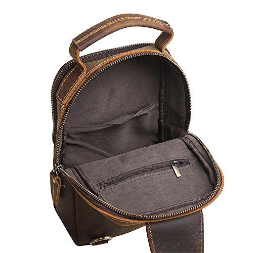 Genda 2Archer Hombres Auténticos Caballo Loco Bolsa de Cuero de Cuerpo Cruzado Bolsa de Hombro (17cm * 9cm * 26cm)