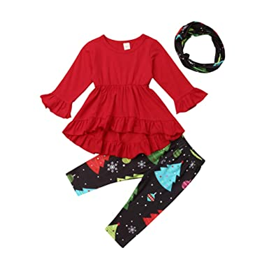 d8ae8421be93e Toddler Baby Girls Xmas Outfits Ruffle Long Sleeve Tunic Dress Tops+Christmas  Tree Legging Pants