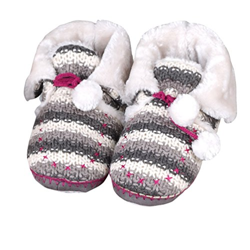 YUTIANHOME Ladies Slippers Womens Indoor Boots With Knitted Upper and Pom Poms Grey gRLgw940