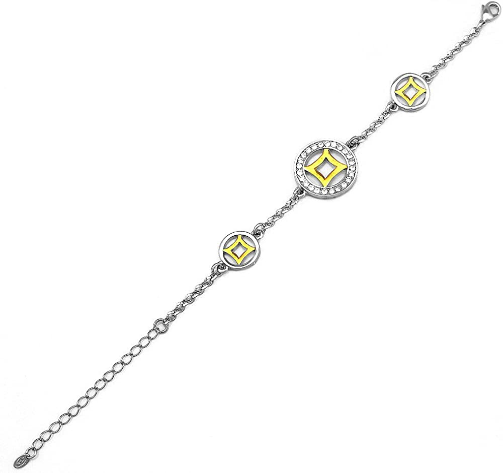 4243 Glamorousky Exquisite Ancient Coin Bracelet with Silver and Yellow Austrian Element Crystals