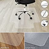 Office Marshal Chair Mat for Hard Floors with Lip - 36'' x 48'', Multiple Sizes - 100% Pure Polycarbonate, No-Recycling Material - Transparent, High Impact Strength