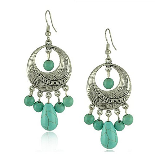 Elakaka Women's Ethnic Tibetan SilverVintage Irregular Circle Turquoise Earrings