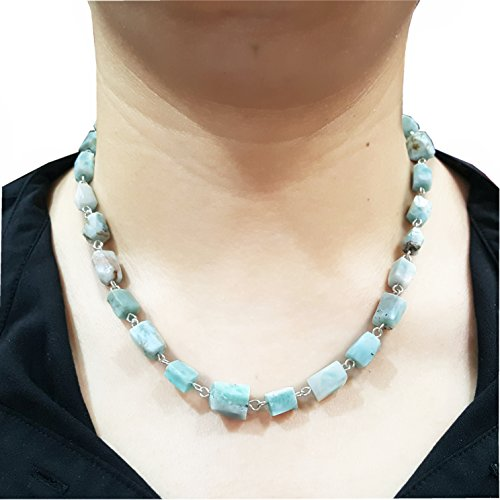 Natural Healing Stone Blue Larimar Matte Irregular Beads Lobster Necklace 18 -20