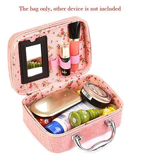 Taqila K UNION Cosmetic Makeup Bag with Small Mirror Adjustable ividers for Cosmetics Makeup Brushes,Jewelry Cases…
