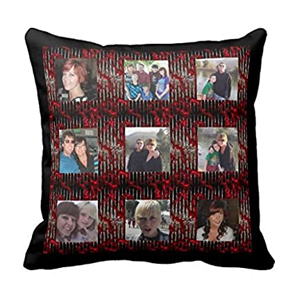 Rojo metálico marco plateado añadir fotos Instagram C funda de almohada