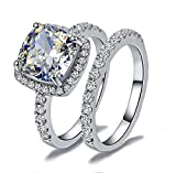 CS7 HIGH QUALITY 2 CARAT RADIANT CUT SONA NSCD SIMULATED DIAMOND RING SET