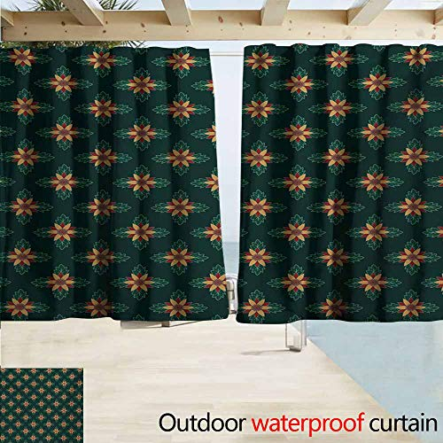 (Zmacdk Garden Art Grommet Extra Long Curtains Ornamental Flowers with Dark Background Festive Plant Arrangement Room Darkening Thermal W55 xL45 Apricot Ruby Dark Green)