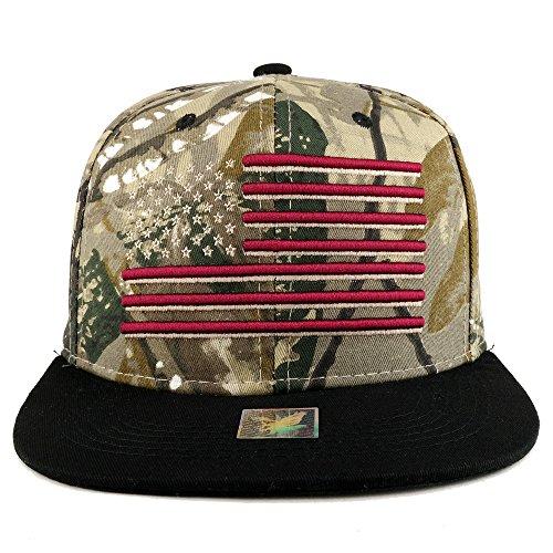 Camo Bill Cap (Armycrew USA American Flag Embroidered Flat Bill Snapback Cap - Hunting CAMO)