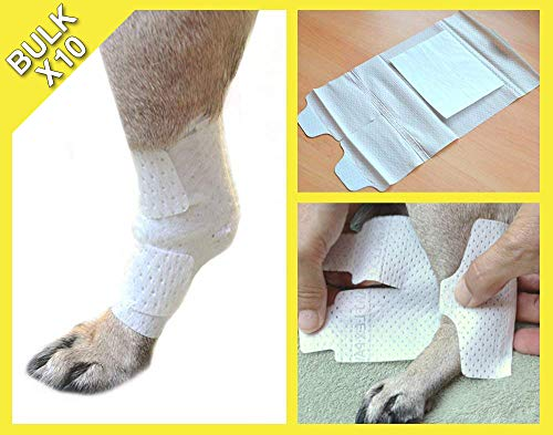PawFlex Joint and Large Area Wound Bandages for Dogs, Cats and Other Pets. Great for Leg Joint sprains and Tail Injuries! Non Adhesive, Breathable Non-Slip Disposable Washable.Value 10 Pack (X-Small)