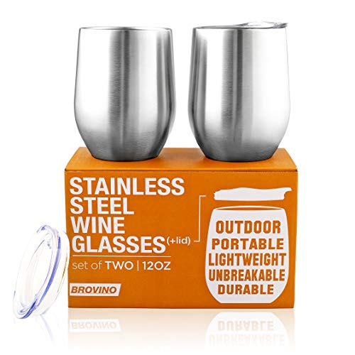 Stainless Steel Wine Glasses with Lid - 12 oz Double Wall Insulated Outdoor Wine Tumblers - 100% Unbreakable & Stemless Glass - Wine Tumbler Set for Outdoor : Wine, Coffee & Camping (2) (Glasses Wine Steel Stainless)