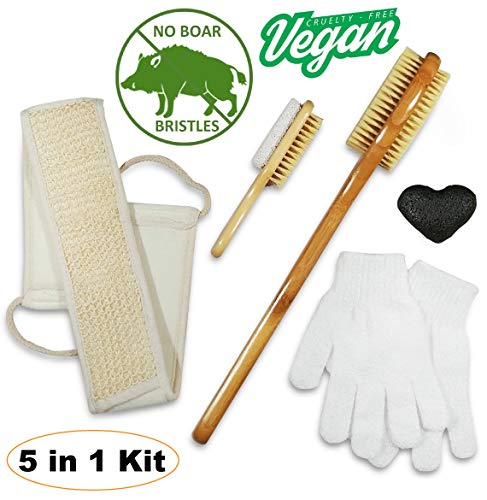 Dry Brush & Skin Exfoliating Set - VEGAN. NO Boar Bristles