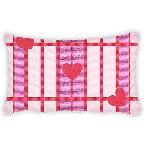 Lino y algodón funda de almohada rosa corazón patrón de San ...