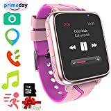 Jesam Kids Smart Watch With Music Player - GPS Tracker Watch With MP3 Player Bluetooth Smartwatch with Activity Fitness Tracker Pedometer Camera FM Alarm Clock Flashlight for Girls Boys (01 Pink)