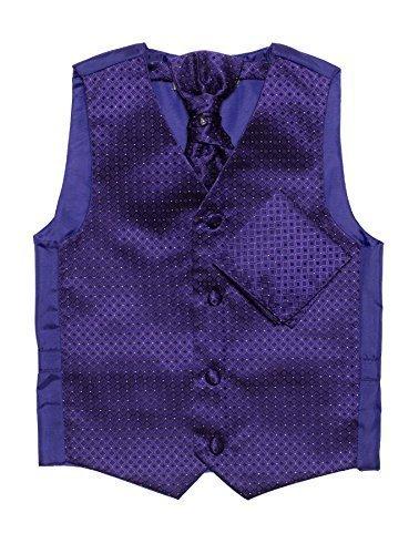 Paisley of London Jungen lila Weste, Krawatte & Einstecktuch Set, Diamant Westen, 3m–14Jahre