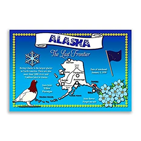 Amazon.com : ALASKA STATE MAP postcard set of 20 identical postcards ...