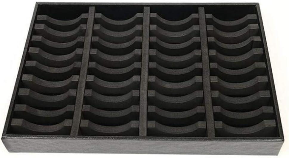 Miraclekoo 40 Slots Grid Bangle Display Storage Tray Jewelry Organizer Holder Case Black