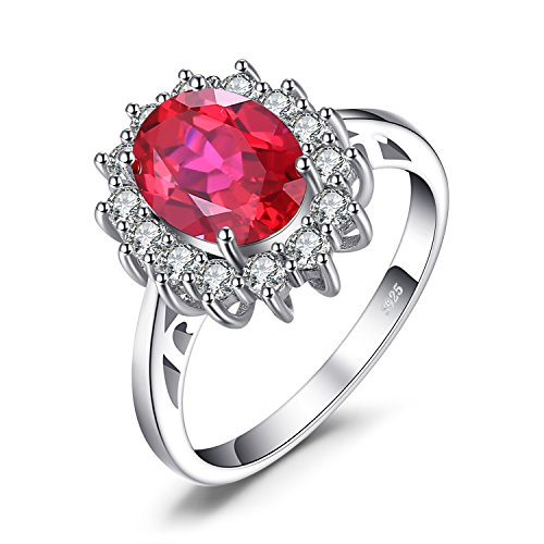 JewelryPalace Gemstones Created Red Ruby Birthstone Halo Solitaire Engagement Rings For Women For Girls 925 Sterling Silver Ring Princess Diana William Kate Middleton Size 9 ()