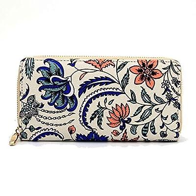 Badiya Women's Floral Canvas Clutch Wallet Cell Phone Zipper Around Long Purse