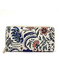 DreamBox Lovely Fashion Printing Long Purse Women Canvas Wallet Clutch Handbag (Beige)