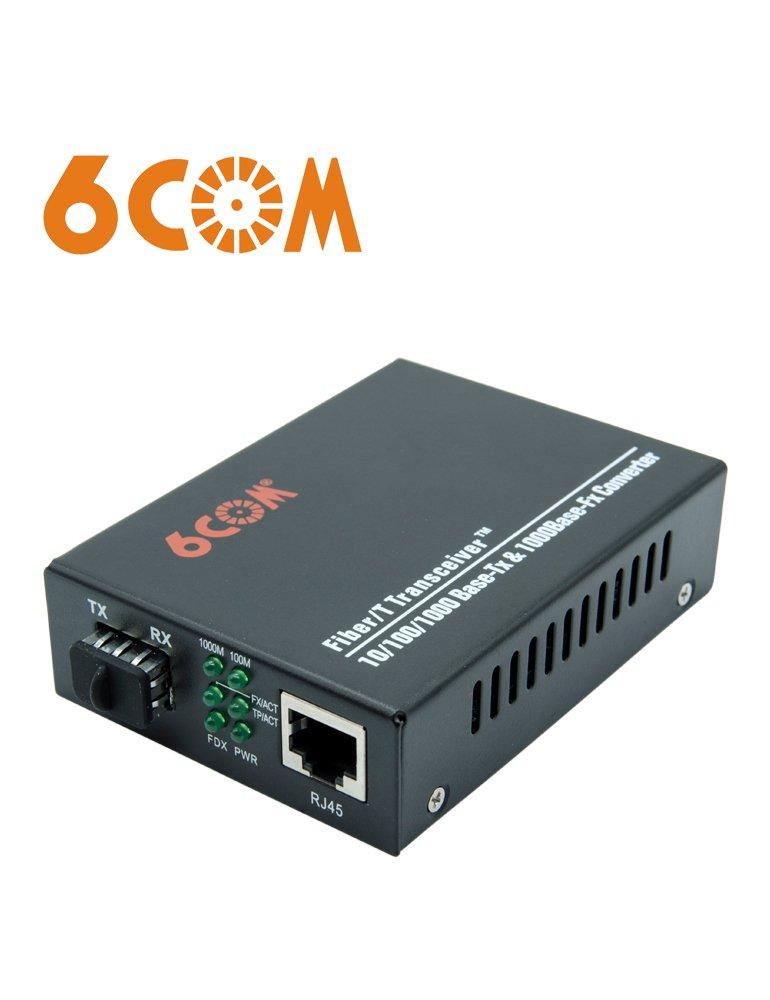 6COM Gigabit Ethernet Media Converter, 10/100/1000Base-TX to 1000Base-FX SFP Slot, without Transceiver by 6COM (Image #1)