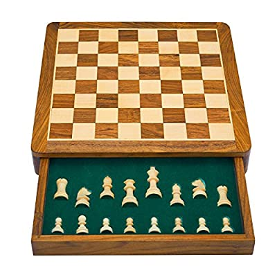 Cyber Monday Christmas Gifts 12 Inch Classic Wooden Chess Set With Magnetic Chess Board Handcrafted Felted Interiors For Fitted Storage Of Staunton Chess Pieces Birthday Housewarming