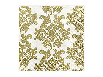 20 Servietten 33x33cm Gold Weiss Deko Napkins Ornament