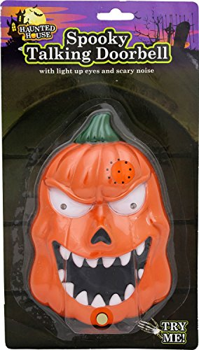 Halloween Carousel Pumpkin (Carousel Haunted House Spooky Talking Halloween Doorbell With Lights Sounds And Surprise Spider Evil)