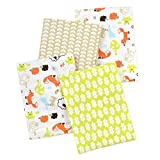 Carter's 4 Piece Flannel Receiving Blankets, Fox/Beige/Orange/Green