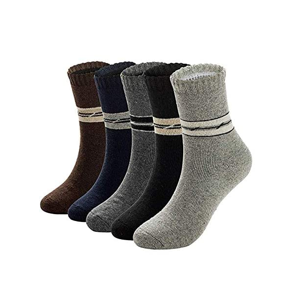 Mens Warm Wool Socks Thick Winter Thermal Stripe Wool Crew Socks 5 Pairs