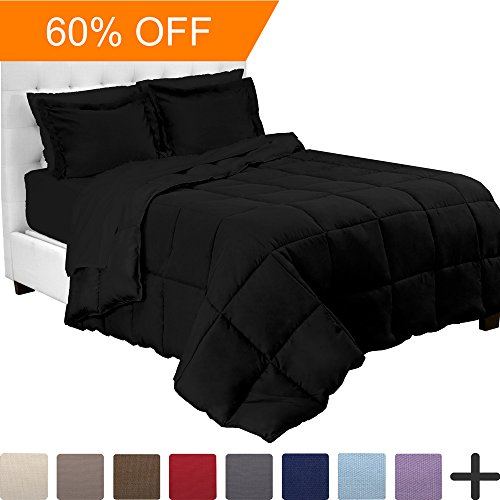 5-Piece Bed-In-A-Bag - Twin (Comforter Set: Black, Sheet Set: Black)