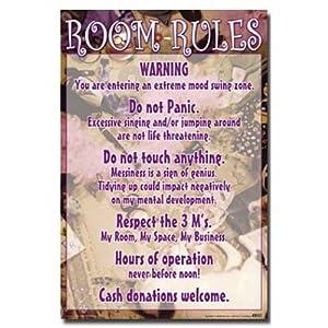 24x36 Room Rules List Girls Art Poster