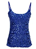 Anna-Kaci Womens Shimmer Sequins Club Spaghetti Strap Camisole Vest Tank Tops, Blue, Small