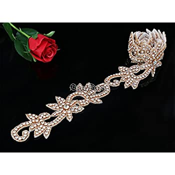 QueenDream Rose Gold 1 Yard Wedding Belt Rhinestone Applique Bridal  Applique Trim Crystal Applique Belt Ribbon Rhinestone Applique for Wedding  Dress 8c1c12ecbac7