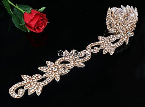 QueenDream Rose Gold 1 yard Wedding Belt Rhinestone Applique Bridal Applique Trim Crystal applique Belt Ribbon Rhinestone Applique for Wedding Dress