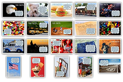 AMERICANA FUN FACTS postcard set of 20 postcards. Iconic America and American culture post card variety pack.