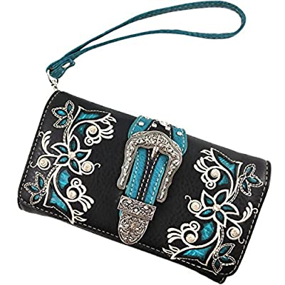 Justin West Rhinestone Cross Floral Embroidery Laser Cut Wristlet Trifold Wallet Attachable Long Strap