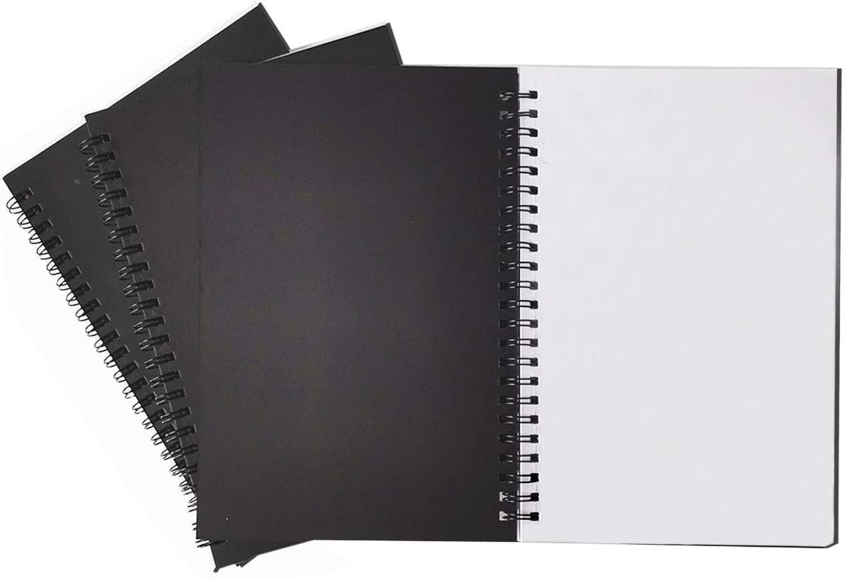 Spiral Notebook, 3Pack Spiral Journal, Thick Pure White Paper 120 Pages Wirebound Notebooks, Sketch Pads& Planner(Black)