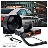 Xprite 200 Watt 8 Tones Emergency Warning Siren Extra Slim Speaker PA System Kit w/ Handheld Microphone & Light Control Switches