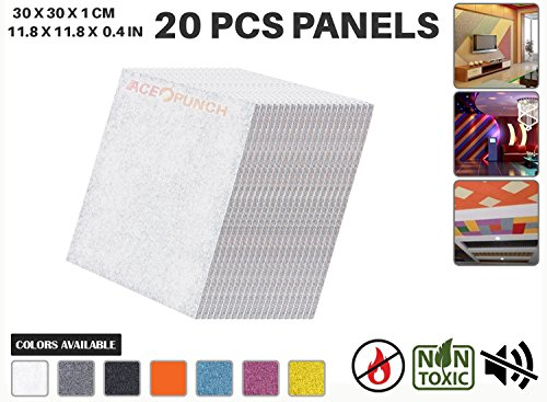 Acepunch Soundproof Insulation Polyester Absorption Panel WHITE 20 Pieces AP1093