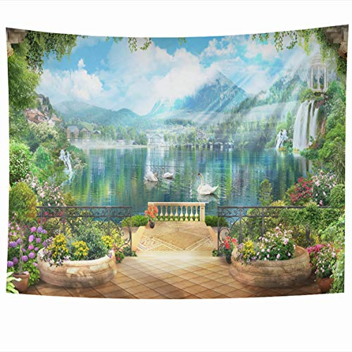 Forest Green History Arch - Ahawoso Tapestry 80 x 60 Inches Green Arch Digital Fresco Terrace Flowers Access to Lake White Swans View Mountains Italy Design City Wall Hanging Home Decor Tapestries for Living Room Bedroom Dorm