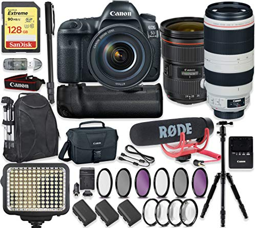 Canon EOS 5D Mark IV DSLR Camera with Canon 24-70mm f/2.8L II Lens & 100-400mm is II Lens + 128GB Sandisk Extreme Memory + Video LED Light + Rode Microphone + 60″ Portable Tripod + Professional Kit