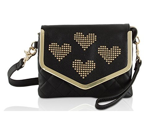 Betsey Johnson Heart Stud Envelope Flap Wristlet Purse Crossbody Bag - Black by Betsey Johnson
