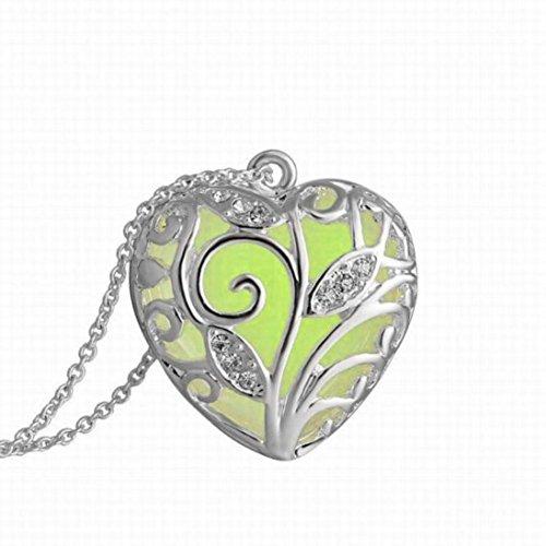 Fheaven Magical Aqua Blue Tree Heart Glow In The Dark Pendant Necklace Gift