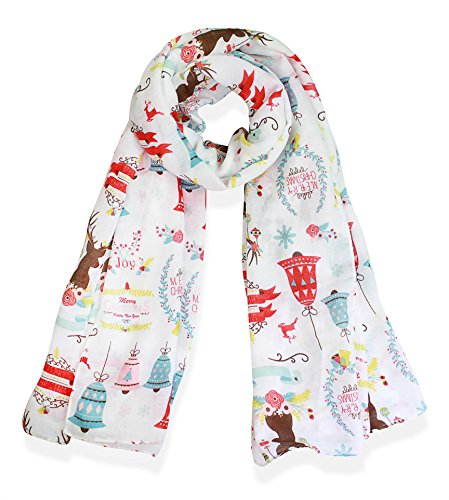 V28 Candy Cane Print Women's Scarf Christmas Gift Lightweight (43