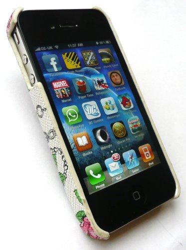 Emartbuy Textured Rosen Und Ketten Clip On Protection Case / Cover / Skin Für Apple Iphone 4/4G Hd