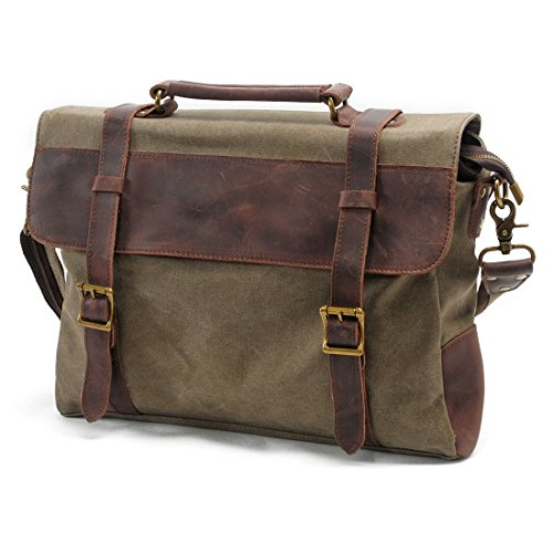 VRIKOO Canvas Genuine Leather Briefcase Satchel Shoulder Messenger Cross-body Bag for Men and Women (Coffee) Ejército Verde